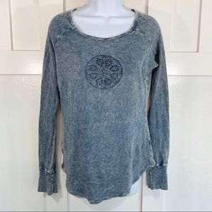 Prana Blue Waffle Knit Long Sleeve Graphic Tee